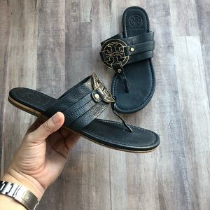 Tory Burch Navy Blue Leather Miller Sandals
